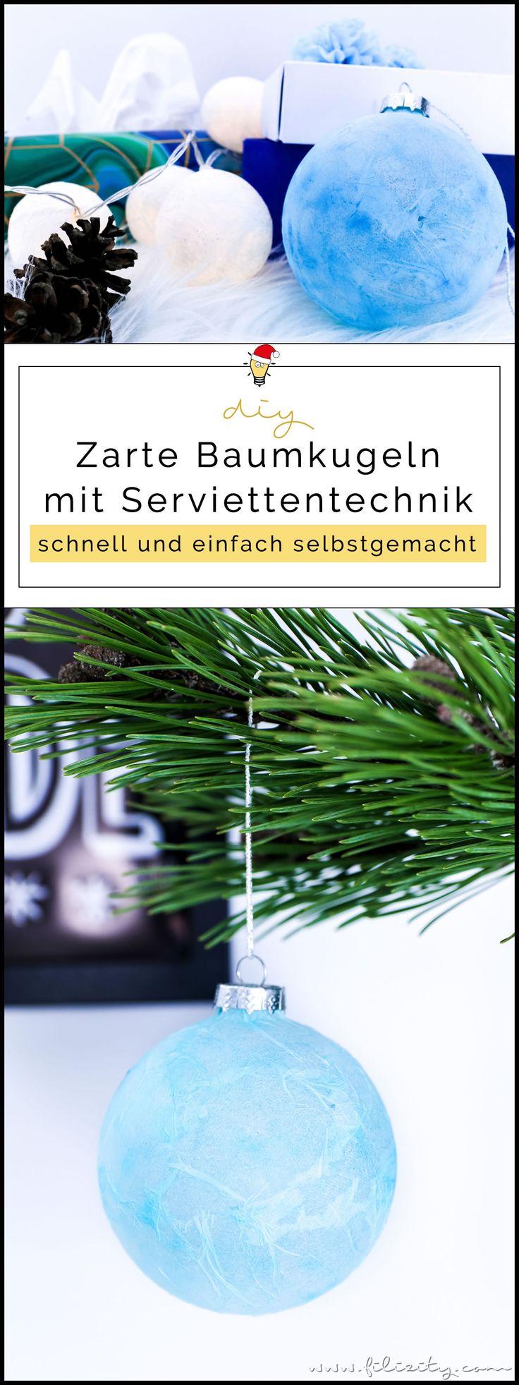 Winter- & Weihnachtsdeko: DIY marbeled Christbaumkugeln mit Serviettentechnik | Filizity.com | DIY-Blog aus dem Rheinland #weihnachten #weihnachtsdeko #tempo