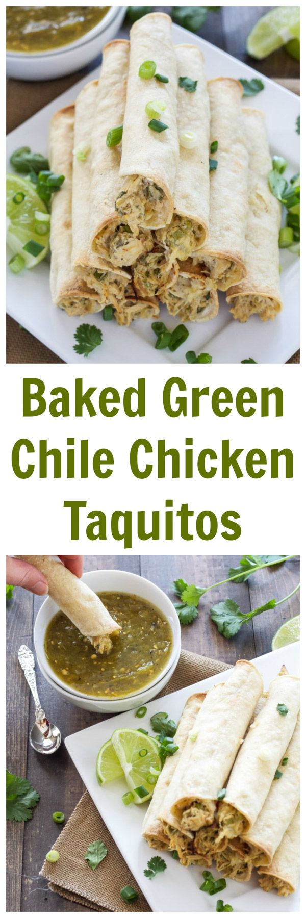 Baked Green Chile Chicken Taquitos | I love these lighter baked taquitos! They have the creamiest chicken filling! | www.reciperunner.com
