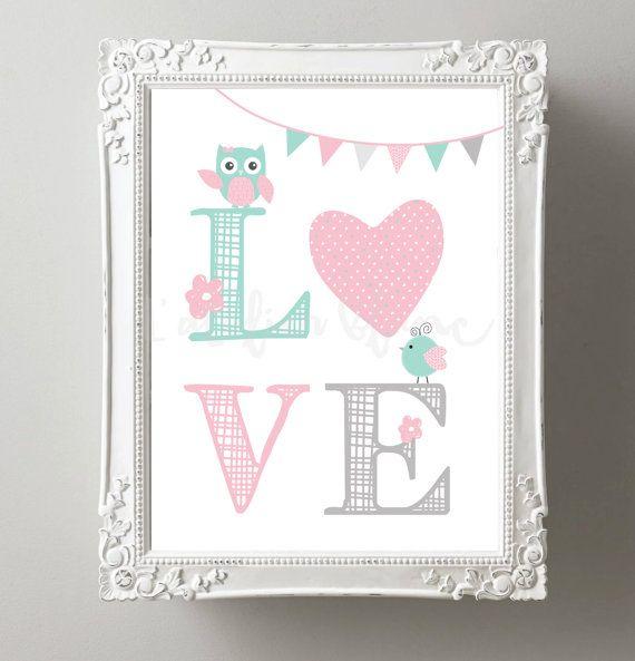 Affiche love rose et vert menthe par atelierblancdesign sur etsy chambre b b pinterest - Chambre bebe vert menthe ...