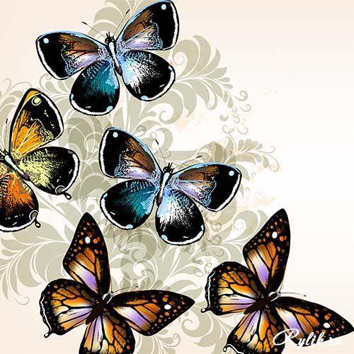 Изящные карточки с бабочками, абстрактные рисунки - векторный клипарт