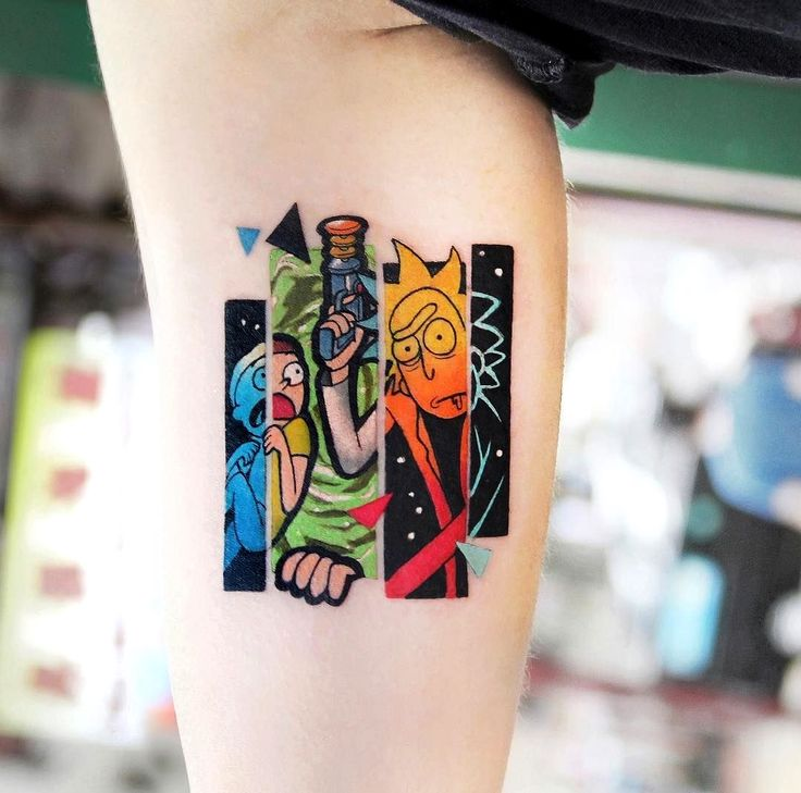 Your Body The Best Canvas So Why Wouldn T You Show Off A Person S Favorite Art With One Of These Best Tattoos In 2020 Rick And Morty Tattoo Tattoos Cartoon Tattoos