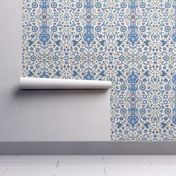 Indian Wallpaper White And Blue By Peacoquettedesigns Etsy Peel And Stick Wallpaper Spoonflower Wallpaper Wallpaper