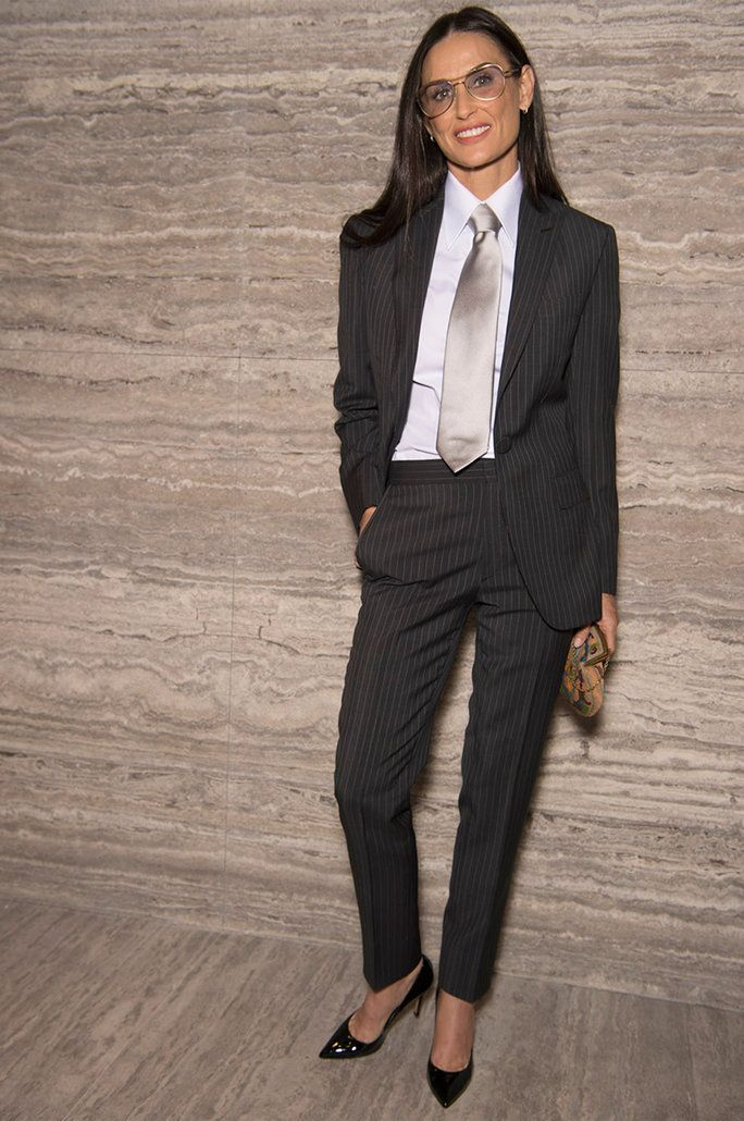 Demi Moore Makes a Rare Appearance in Menswear-Inspired Suiting at Brioni's Fashion Show