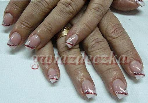 Walentynkowy french manicure, paznokcie żelowe http://esteraowczarz.blogspot.com/2014/02/walentynkowy-french-manicure.html
