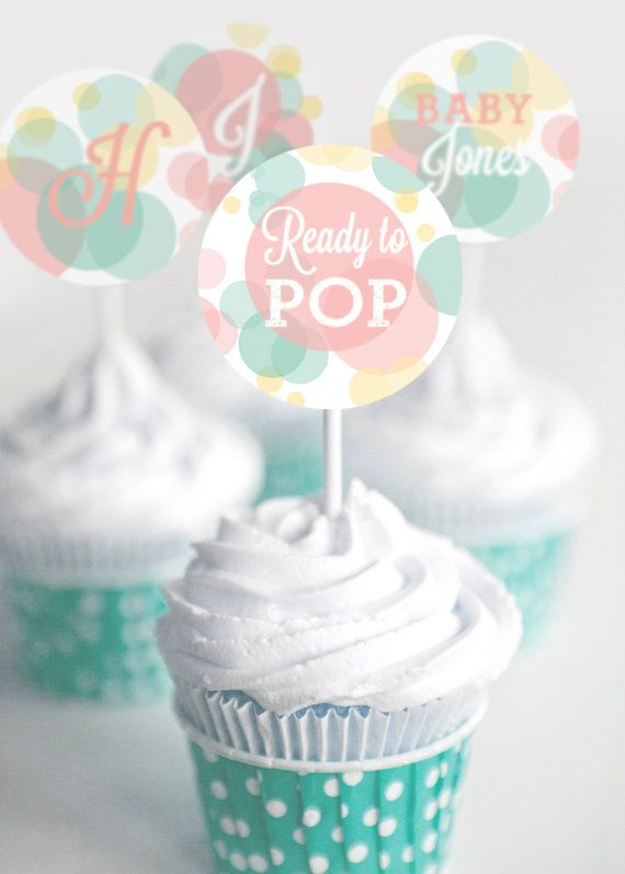 Ready To Pop Baby Shower Cupcake Topper  by SunshineParties