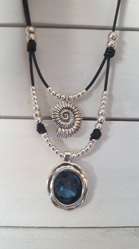 56520dccfb01 doble collar de cuero redondo colgante de plata de cristal  bisuteria   bisuteriamujer  bisuteriaargentina  argentina  bisuterias bisuteriabarata    ...