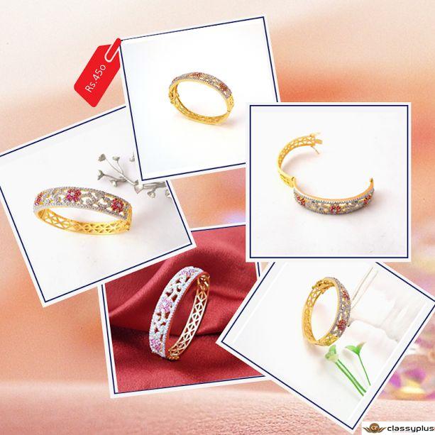 Beautiful gold plated stylish American Diamond Studded Bracelet