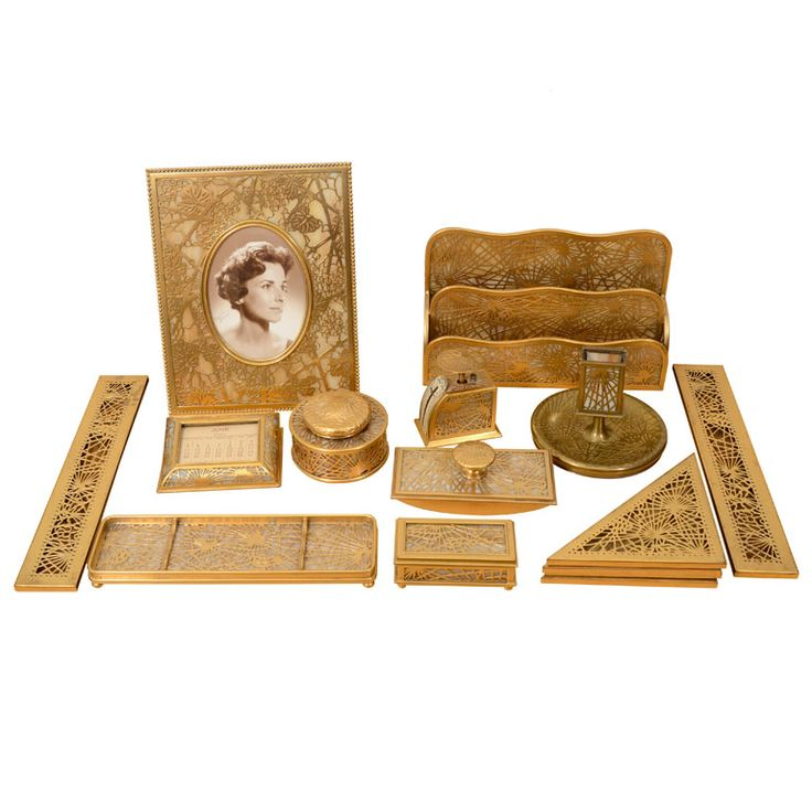 Tiffany Studios Pine Needle Desk Set Circa 1910 1920 In