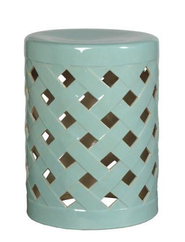 Aqua Criss Cross Ceramic Garden Stool Side End Table