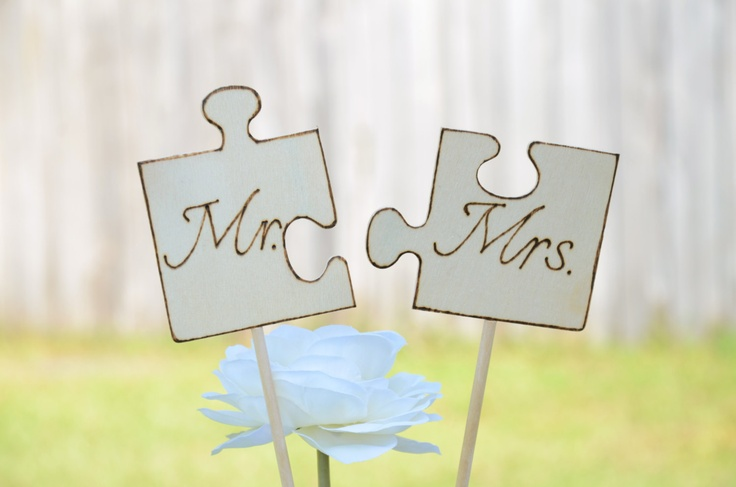 Wedding Mr. and Mrs. puzzle cake topper - 2013 collection. $20.00, via Etsy.