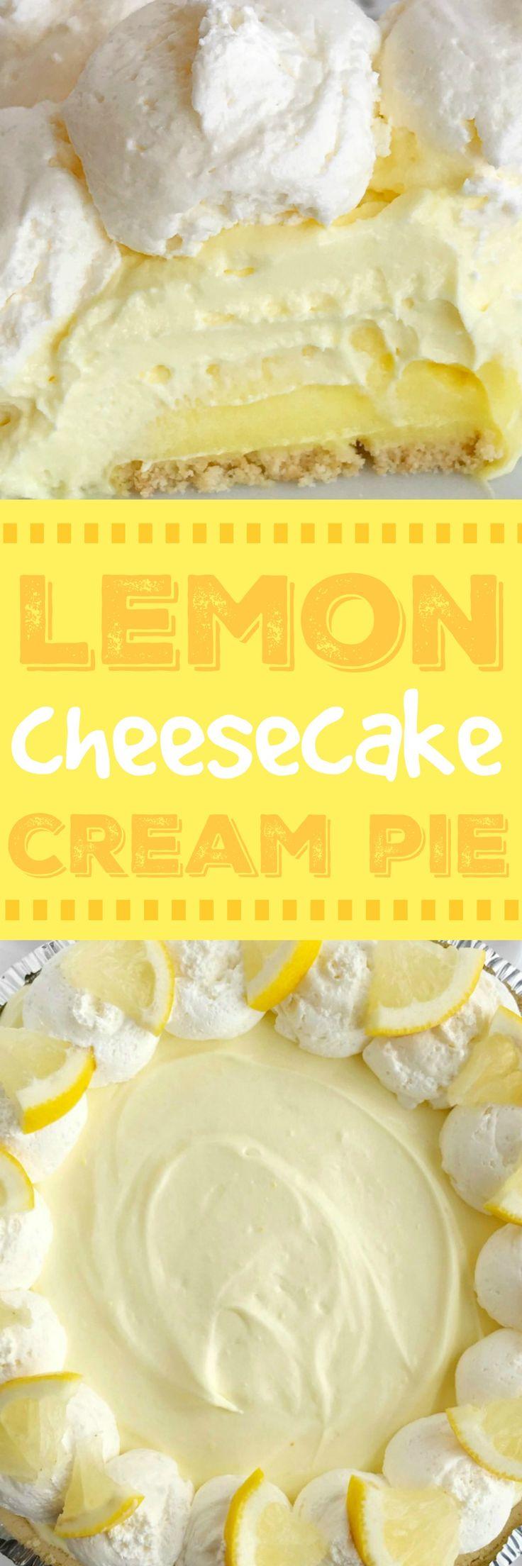No Bake Lemon Cheesecake Cream Pie   Lemon Desserts   No Bake Pie Recipe   No Bake Desserts   Lemon   Citrus Recipe #nobakerecipes #dessertrecipes #pie #creampie