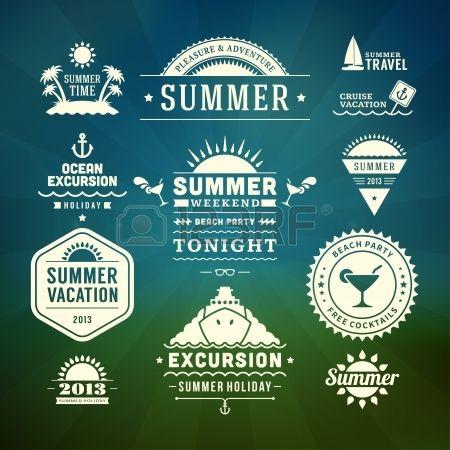 Retro zomer design elementen Vector illustratie Stockfoto