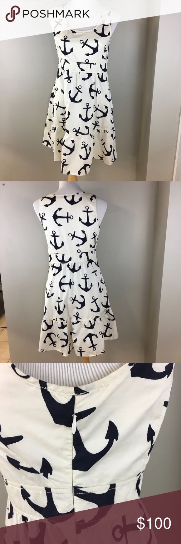 J. crew ANCHOR PRINT dress sleeveless white navy 2 Unique print! Gorgeous J. Crew sleeveless dress. Ruffled peplum bottom. 100% cotton. White with navy ANCHOR PRINT! Perfect for summer parties. Size 2. Small tear above the side zipper. J. Crew Dresses