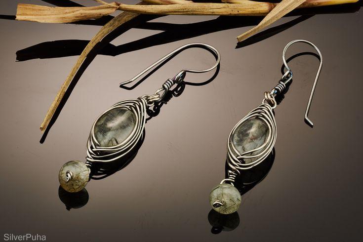 Rutilated quartz herringbone silver earrings by SilverPuha on Etsy