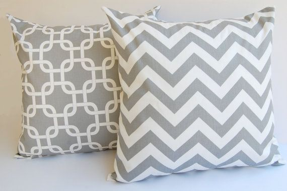 """18"""" x 18"""" Gray Pillows set of two throw pillow covers Storm Gray Chevron zig zag and Gotcha Chain Links Cusion covers on Etsy, $34.00"""