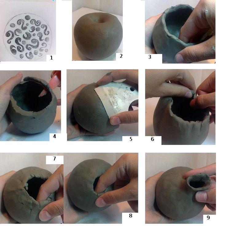 пошаговые фото изготовления посуды из глины