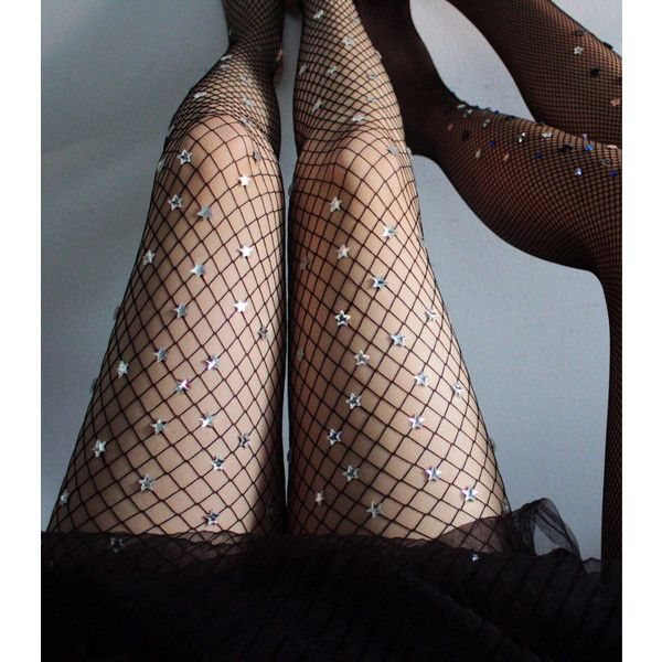 Silver Starry Net Small Mesh Fishnet ($150) ❤ liked on Polyvore featuring intimates, hosiery, tights, grey, women's clothing, grey fishnet tights, gray fishnet tights, silver tights, star stocking and mesh tights