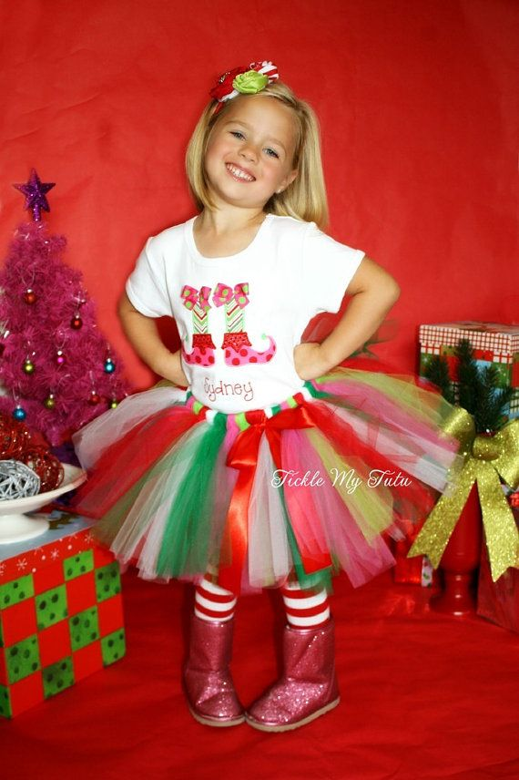 Lil' Elf Feet Christmas Tutu Outfit-My First by TickleMyTutu