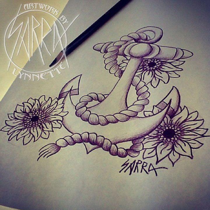 Sunflower anchor tattoo design by Sarra Lynnette