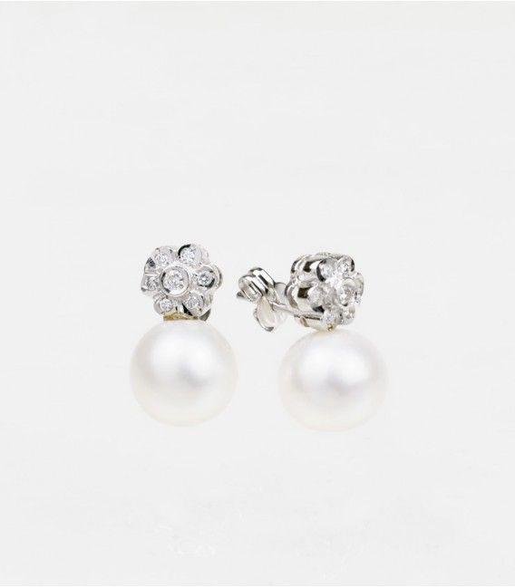 Pendientes Oro Blanco Perlas Tú y Yo Rosetón Diamantes