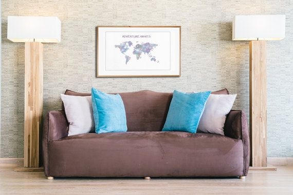 World map wall art, Watercolor world map, Adventure awaits Travel map Gift Idea Modern Wall Art Trendy Art Map of the World Wanderlust Print
