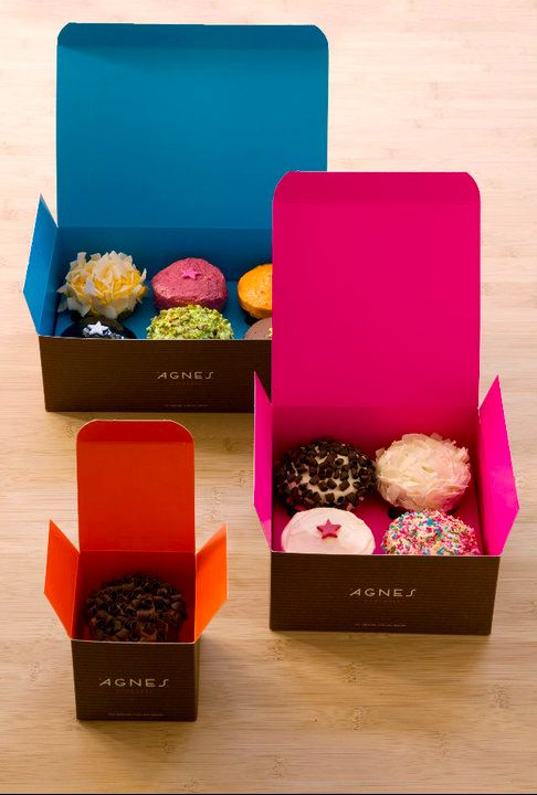 more cupcake #packaging #design love PD Agnes Cupcakes are literally the best things ever...and their packaging prevents your cupcakes from cross-mingling!  #copenhagenCupcakes Packaging, Cupcakes Boxes, Agnes Cupcakes, Cake Packaging Design, Cupcake Boxes, Bakeries Design, Pretty Packaging, Bright Colors, Cupcake Packaging