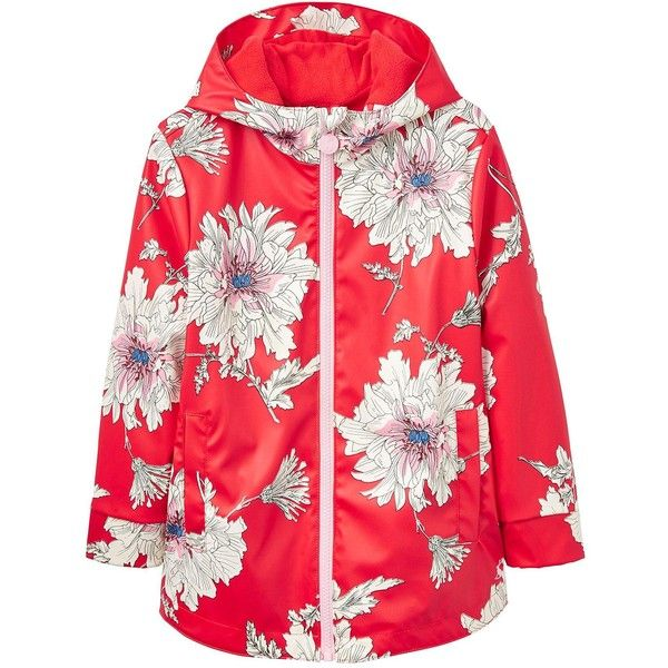 Joules Girls Raindance Floral Rubber Coat (48 BGN) ❤ liked on Polyvore featuring outerwear, coats, joules coats, water proof coat, red coat, fur-lined coats and waterproof coat