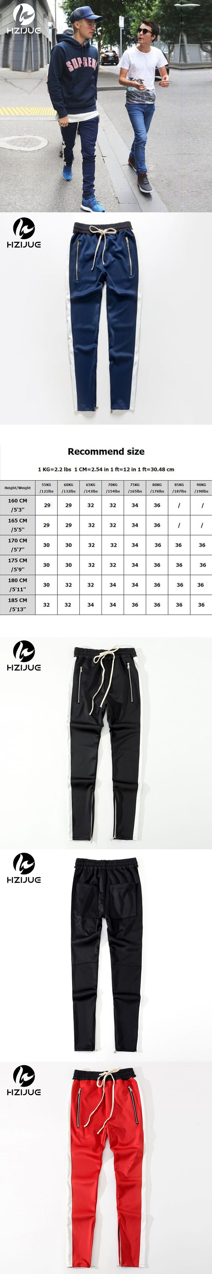 HZIJUE 2017 men pants Striped Kint Waistband Track Pants High Quality Zipped Pockets Ankle Slim Fit Joggers for me 3 colors
