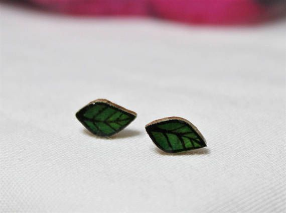 Petite Green Rice Paper Leaves on Wood Stud Earrings with Titanium Posts | Individually cut and sanded pieces of oak wood and alcohol ink on rice paper designs.