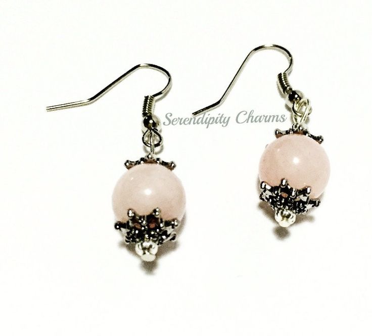 Rose Quartz Dangling Earring With Bead Cap by SerendipityByIrene on Etsy