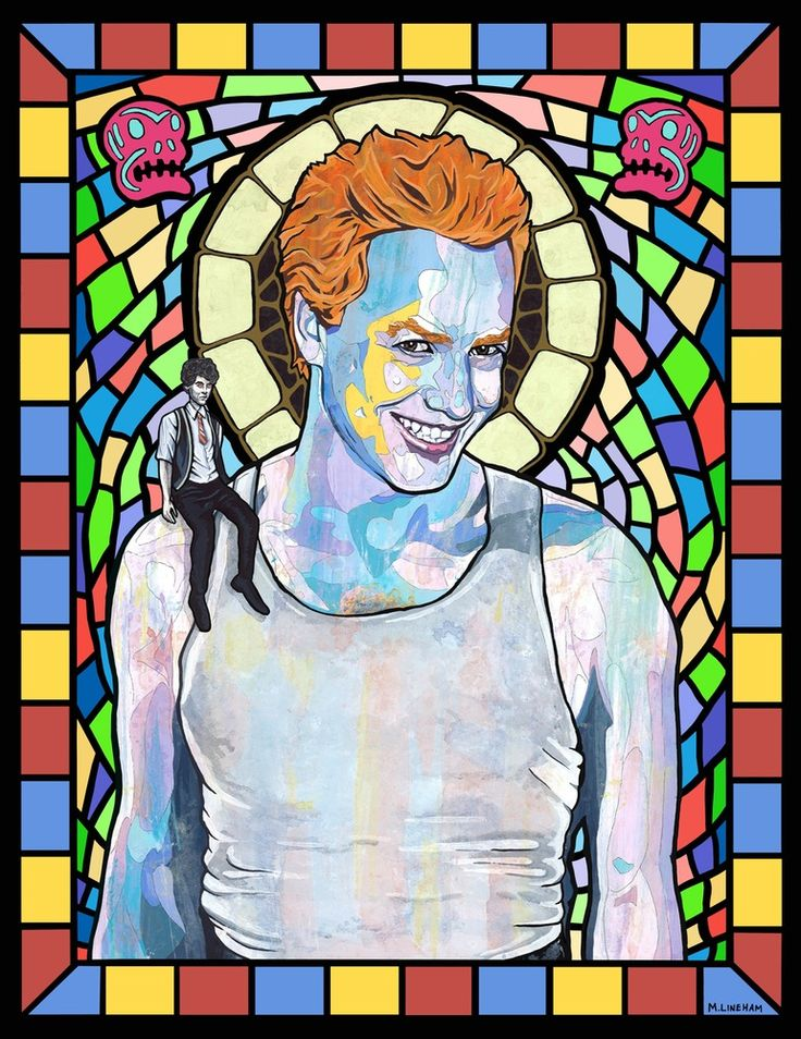 Saint Danny Elfman of Oingo Boingo. Steve Bartek on shoulder - Matthew Lineham New Wave Saints Series