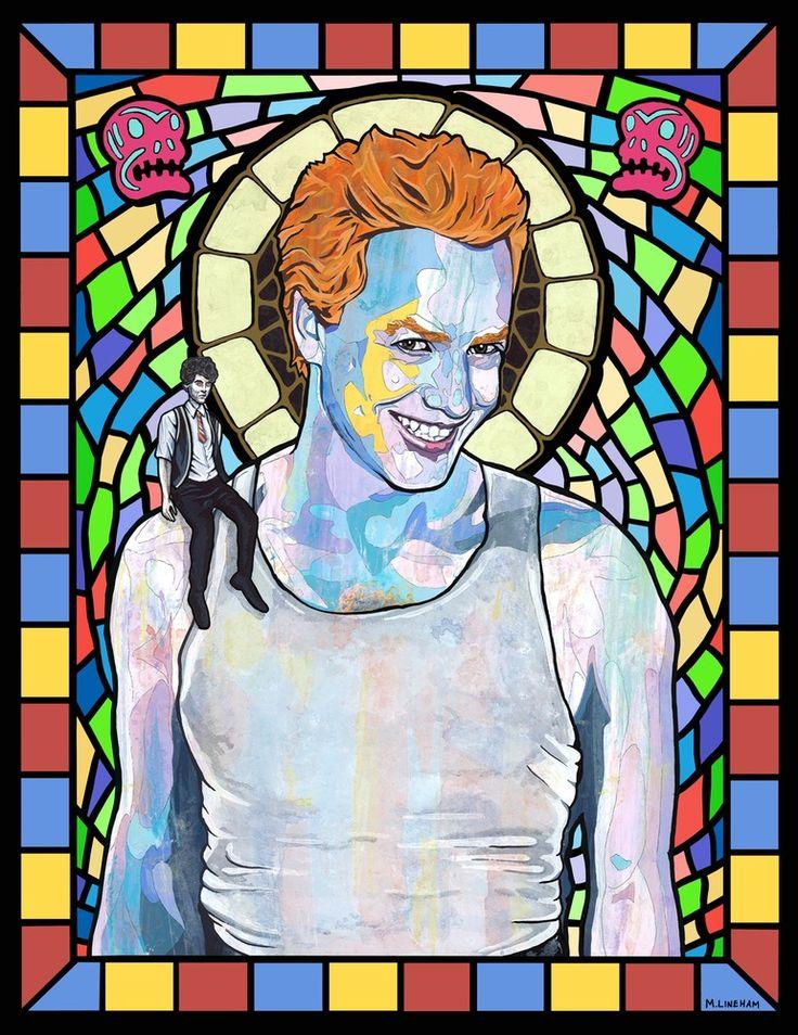 Saint Danny Elfman of Oingo Boingo. Steve Bartek on shoulder - Matthew Lineham New Wave Saints Series