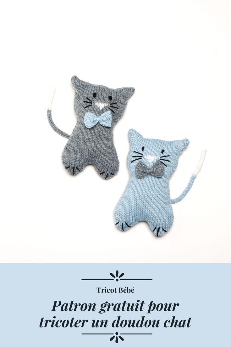 Patron doudou gratuit pour tricoter un chat Patron pour tricoter un doudou chat DIY
