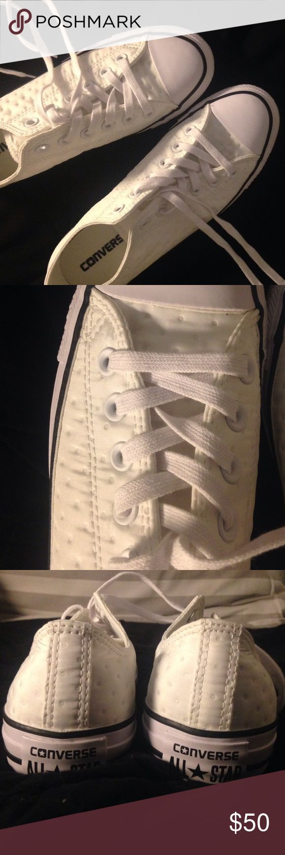 """NEVER WORN Women's White Textured Converse, Size 8 These shoes are a size too big for me, otherwise I would definitely be keeping them. They put a unique spin on the """"in"""" white converse, as they are a unique textured fabric rather than just the classic canvas. They have never been worn and are brand new! Converse Shoes Sneakers"""