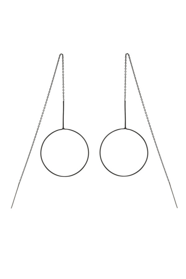 monocle earrings - black silver - by: Maria Black