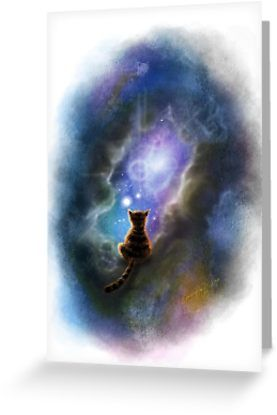 The ultimate question solved. Where did Schrodinger's cat go when she was not being observed? She became one with the cosmos, baby! ) • Also buy this artwork on stationery, apparel, stickers, and more.
