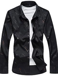 Masculino+Camisa+Social+Casual+Simples+Primavera+Outono,Estampado+Algodão+Colarinho+de+Camisa+Manga+Longa+–+BRL+R$+56,96