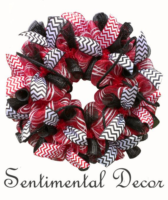 Awesome Father's Day gift! UGA Pride Deco Mesh Wreath, University of Georgia Bulldog Football Party Decoration for Fans, Alumni and Students, GO DAWGS!