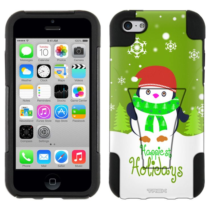 Apple iPhone 5C Holiday Penguin with Scarf on Green Hybrid Case