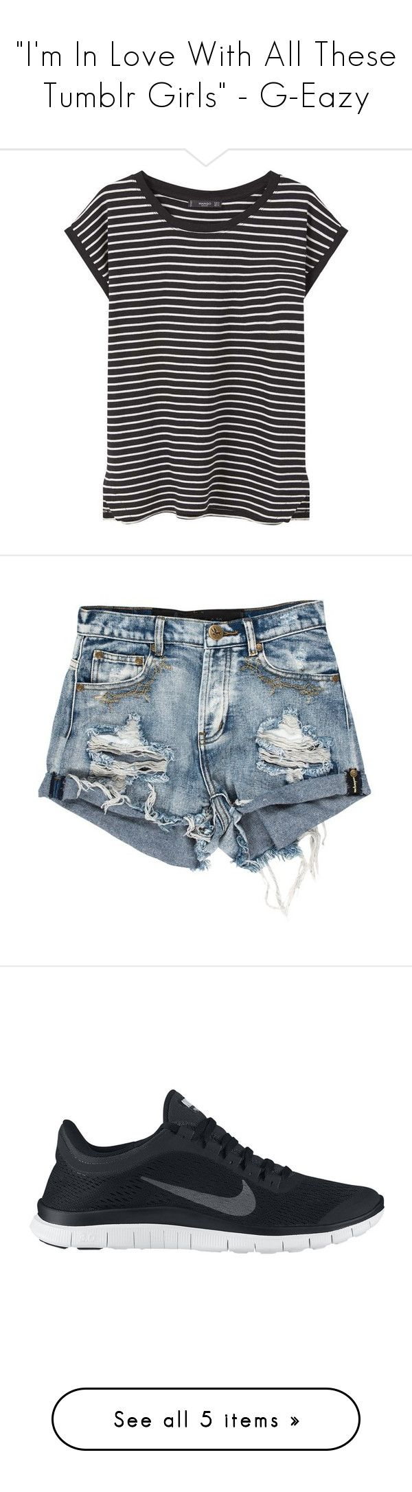 """""""""""I'm In Love With All These Tumblr Girls"""" - G-Eazy"""" by meredith-gomes ❤ liked on Polyvore featuring shorts, sneakers, Tshirt, tops, t-shirts, shirts, blusas, tees, side slit shirt and stripe tee"""
