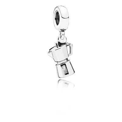 A cut coffee pot for all you coffee lovers!  PANDORA | Espresso can silver dangle