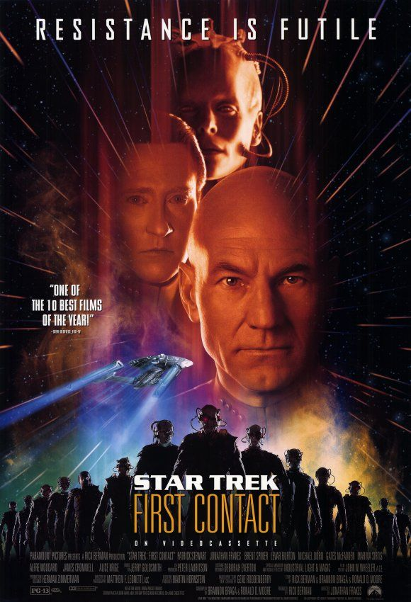 Star Trek: First Contact (1996) Captain Picard and his crew pursue the Borg back in time to stop them from preventing Earth's first contact with an alien species. They also make sure that Zefram Cochrane makes his famous maiden flight at warp speed.