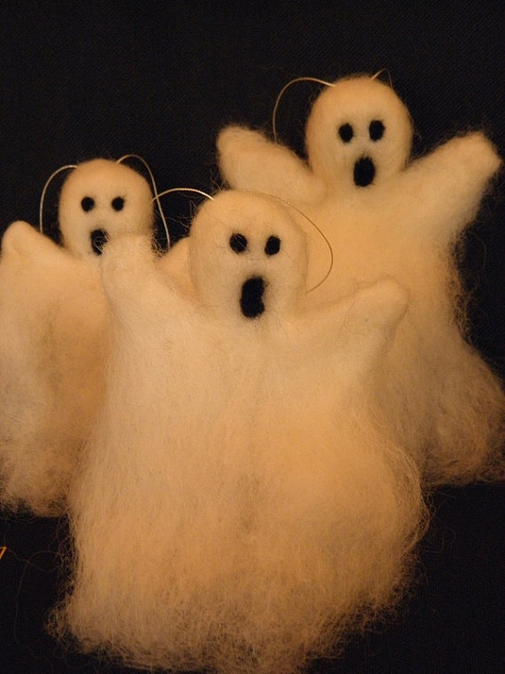 Needle felted ghosts