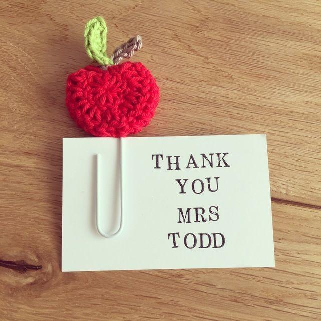 Cute handmade crochet teacher gift apple bookmark page saver giant paper clip  £5.00