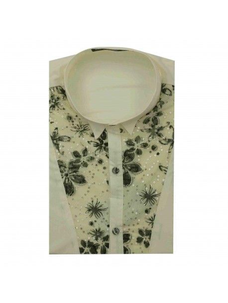 Mens New Cream Fitted Disco 70s Wedding Fancy Dress Lace Party Wing Collar Shirt