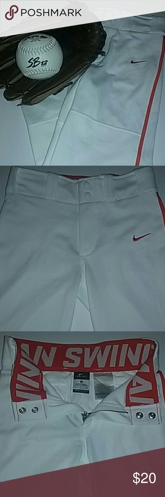 Boys Nike Baseball Pants Boys or Unisex Baseball/Softball Pants NIKE DRI-FIT Size Small Two snap buttons & zipper Two back pockets Color: White/Orange 100% Polyester  Brand new with tags. $35.00 ⚾⚾⚾⚾⚾⚾⚾⚾⚾⚾⚾ Great for practice or game day! Nike Costumes Seasonal