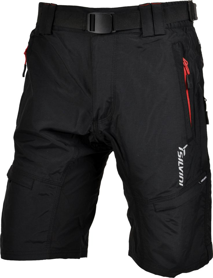 Silvini Cyklistické kalhoty MTB RANGO MP857 volné černé/červené pánské