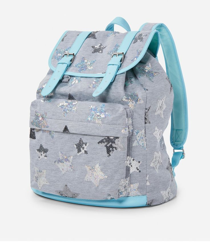 Justice Girl's Star Sequins Rucksack in Gray & Blue NWT #Justice #Rucksack