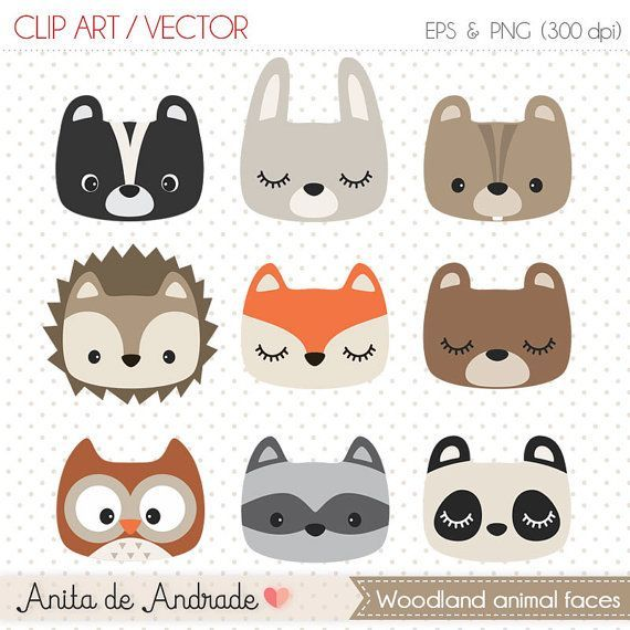 Forest clipart, cute forest animal, forest kid room baby shower supplies, woodland