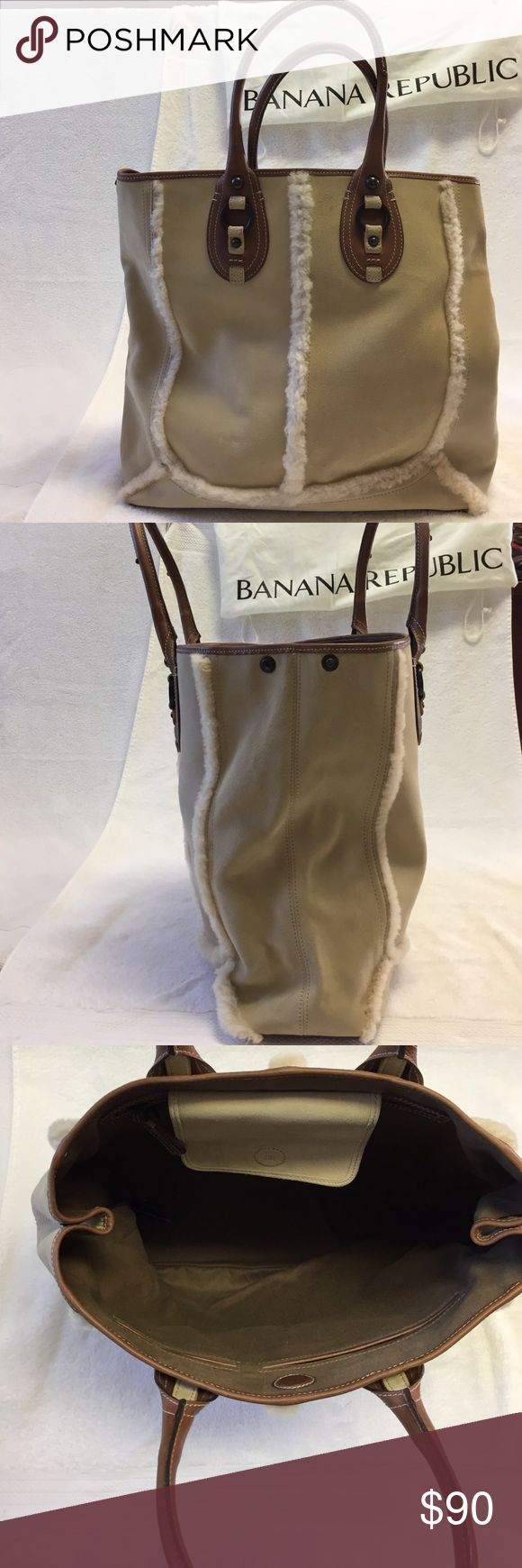 Banana Republic Sheepskin Tote Bag Beautiful sheepskin tote in excellent condition. Dust cover included. Banana Republic Bags Totes